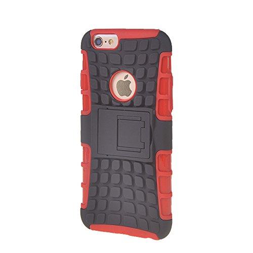 iPhone 6 Plus Coque,COOLKE [Rose] haute qualit¨¦ Etui Housse Robuste Protection de Double Couche d'Armure Lourde avec B¨¦quille Cover Case pour Apple iPhone 6 Plus (5.5 inch) Rouge
