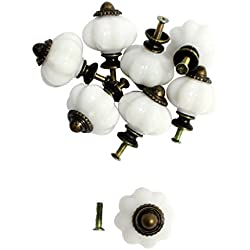 KurtzyTM Set de 8 Tiradores de Puertas y Cajones de Armarios Plástico Vintage en Crema Blanco