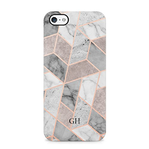 Geometric Marmor Mosaic Customizable Personalised Name Custom Initialen Gift for Him or Her Schutzhülle aus Hartplastik Handy Hülle für iPhone 5/iPhone 5s/iPhone SE Case Hard Cover