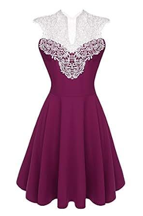 ACEVOG Damen Kleid Ärmellos V-Ausschnitt Sexy Cocktail Partykleid mit Spitzen  , Violett , EU 36 (Herstellergröße: S)