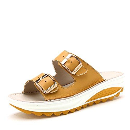 Pantoufles extérieures extérieures dété Chaussures sandales épaisses antidérapantes avec des chaussons à fond plat (4 couleurs en option) (taille facultative) ( Couleur : D , taille : EU39/UK6.5/CN40 B
