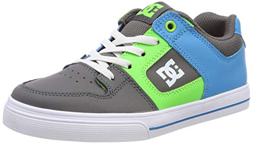 DC Shoes Pure Elastic, Scarpe da Skateboard Bambino, Multicolore (Grey/Green/Blue Xsgb), 28 EU