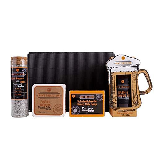 Bier Geschenk-set für Männer - 4tlg Pflegeset für Herren im Geschenk-karton: Maß-Krug Duschgel, Bier-deckel Badekugel, Schafmilchseife und Bade Pourri mit Urea