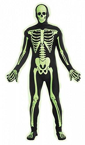 Phosphorisierender Ganzkörperanzug Skelett-Druck Herren leuchtend Glow in the Dark, (Glow Skelett Kostüme)