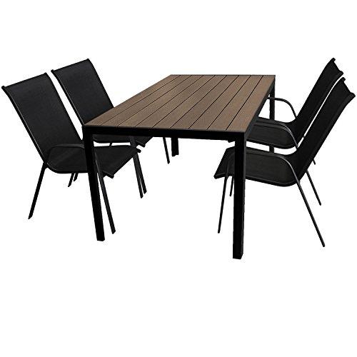 5tlg. Gartengarnitur Gartenmöbel Terrassenmöbel Set Sitzgruppe Aluminium Gartentisch 150x90cm mit Polywood Tischplatte + 4 stapelbare Gartenstühle mit Textilenbespannung