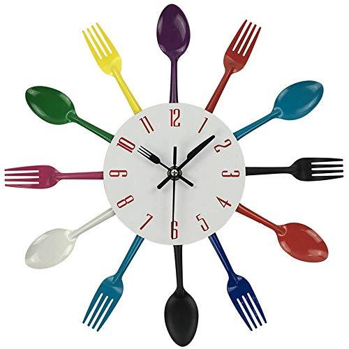 ZYUEER Horloge de Cuisine Effet Miroir en Forme de cuillère, Fourchette, Couverts, pour décoration de la Maison 31cm Diameter Pas Cher (Multicolore)