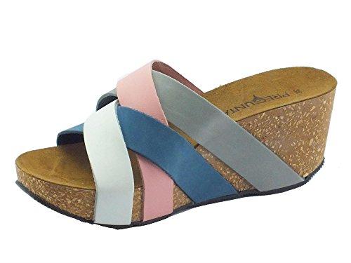 Sandalo Pregunta in nabuk colore rosa grigio bianco e blu zeppa media Cipria Bleir bianco avio