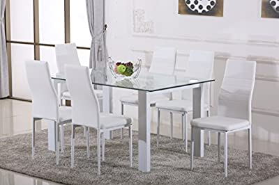 White HAVANA High Gloss Glass Dining Table Set and 6 White Faux Leather Chairs Seats produced by Furniturebox - quick delivery from UK.