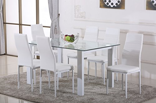 Phenomenal White Havana High Gloss Glass Dining Table Set And 6 White Faux Leather Chairs Seats Download Free Architecture Designs Scobabritishbridgeorg