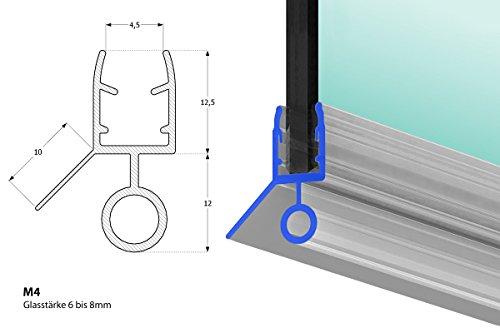 Duschdichtung 60cm Dichtung Dusche für 6mm, 7mm und 8mm Glasdicke, Duschtürdichtung M4 Duschkabinendichtung PVC, Duschdichtungsprofile transparent Duschtür Dichtung mit Gummilippe
