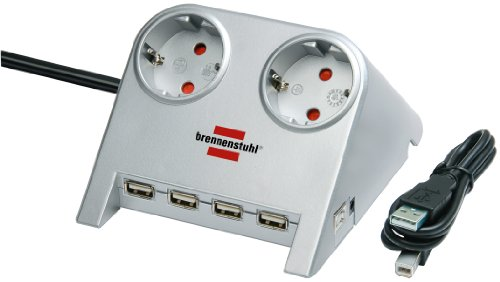 Brennenstuhl Desktop-Power-Plus, Steckdosenleiste 2-fach (Tisch-Steckdose mit 1,8m Kabel, 4-fach USB-2.0-Hub und 5V-Buchse) Farbe: silber