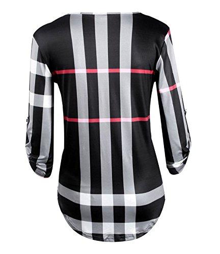 ASSKDAN® Damen V-Ausschnitt 3/4 Ärmel Loose kariertes Hemd Bluse Langarmshirt Oberteil Top Schwarz