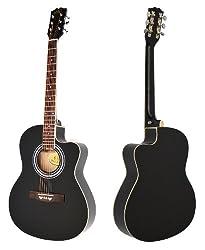 """4/4 Cutaway Westerngitarre Akustik Gitarre""""Western Style"""" in Schwarz"""