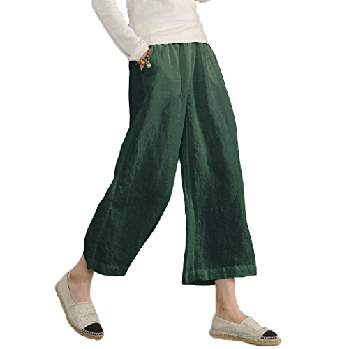 Ecupper Damen Leinenhose 7/8 Sommerhosen Leicht mit Elastischem Bund Casual Loose Fit Trousers Grün XL -