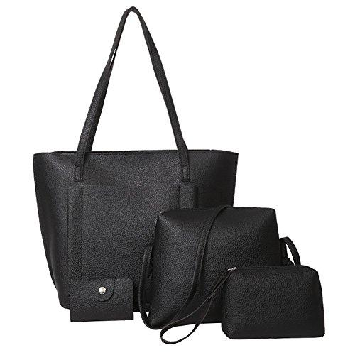 Tasche Bags Loveso Damen Mode 4 Teiliges Handtaschen Set im Vintage Style Leder Henkeltasche Crossbody Tasche Handgelenktasche (Schwarz)