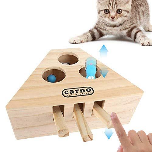 Baiwka Juguete Interactivo para Adivinar El Gato, Juguete De Caza del Gato Sólido De Madera Juguetes Interactivos para El Ejercicio del Gato Whack A Mouse Mole Caja Punch Juego - 3 Agujeros