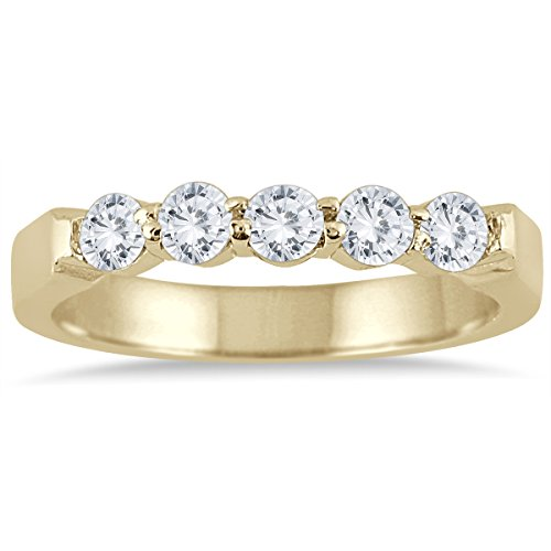 100-carat-five-stone-diamond-wedding-band-in-10k-yellow-gold