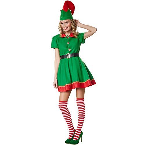 dressforfun 900574 Damenkostüm Fleißige Weihnachtselfe, Weihnachtliches Kostüm in den Farben Rot und Grün (S  Nr. 302758) (Weihnachtliche Kostüm)