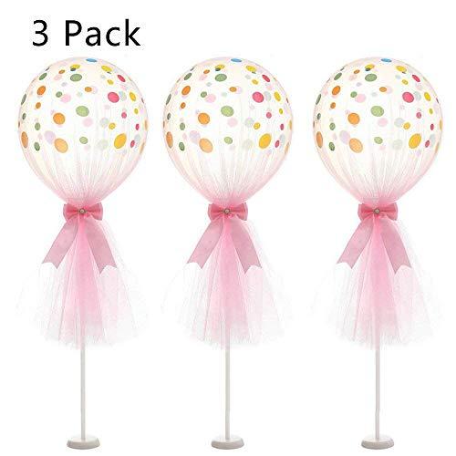 ARTSTORE 12 Zoll Tüll Luftballons, Latex Dot Latex Dot Ballons mit Säule Basis Kit für Hochzeit Dekoration Baby Shower Geburtstag 3pcs, Pink