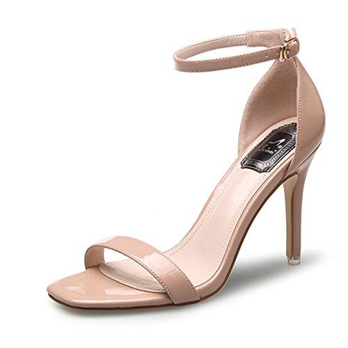 Sandali da donna con tacco alto, sandalo con gancetto e tacco, scarpe aperte, Beige (Beige), 34 EU
