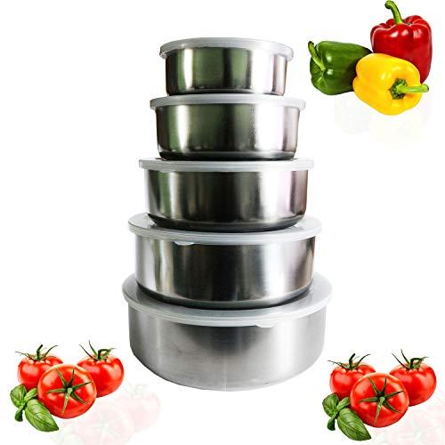 Lebensmittelbehälter (5 STK) - Edelstahl Brotdose mit Kunststoff Deckeln - Stapelbare Rührschüsseln - Lebensmittel Aufbewahrungsbox für Schule, Büro und Picknick - Lunch Box