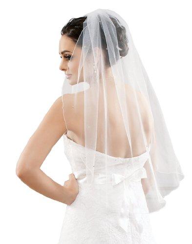 Schlichter Schleier Brautschleier aus Feintüll mit Swarovski Steinen, creme ivory