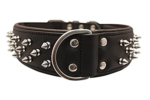 Spiked Studded Leather Dog Collar, Wide, Padded, Double-Ply, 28 x 2, Black, 100% Genuine Leather (Amsterdam) Great Dane, Bull Mastiff by Angel Pet Supplies Inc.