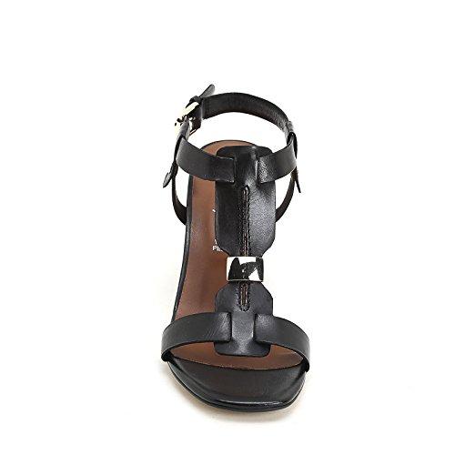 ALESYA by Scarpe&Scarpe - Sandales hautes avec accessoire doré, en Cuir, à Talons 7 cm Noir