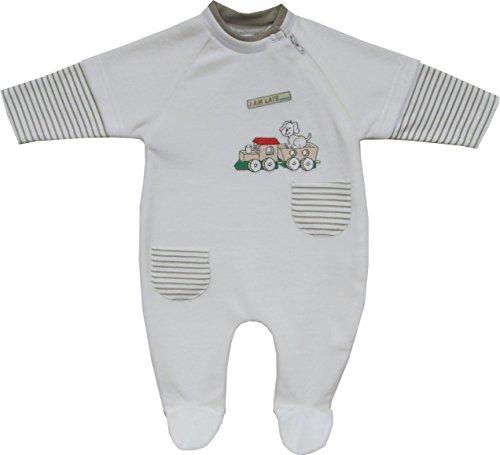 Schnizler Unisex Baby Schlafstrampler Nicki Schlafanzug Zugfahrt, Gr. 50, Beige (original 900)