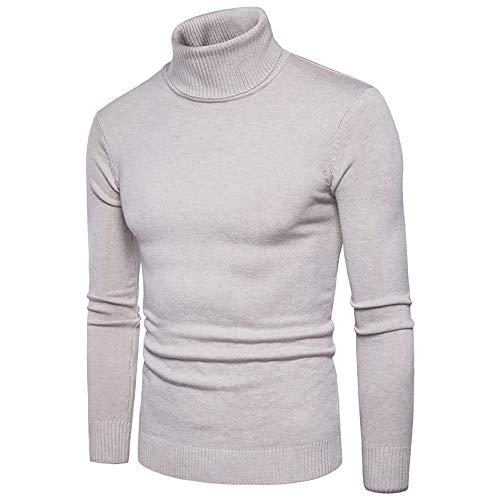 ZIYOU Männer Rollkragen Pullover, Herren Langarm T Shirts Hemd Pulli Schlanke Körper Sweatershirt Gut Aussehend Reine Farbe Herbst Winter(L,Beige)