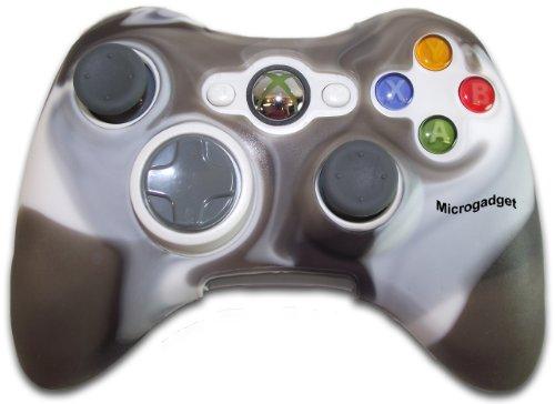 Microgadget Hülle aus Silikon für XBox 360 Controller, Grau / Weiß Haut Xbox360