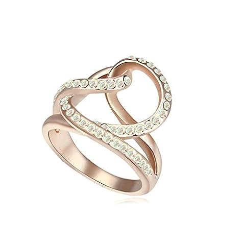 Daesar Schmuck Vergoldet Damenringe Webart Zirkonia Verlobungsring Strass Bridal Ring Größe:54 (17.2)