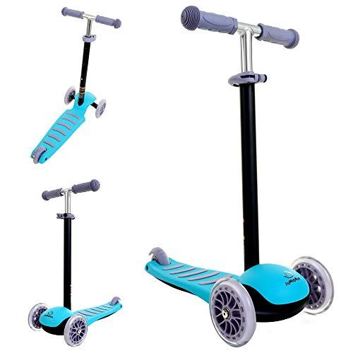 JUNIORIA Roller Kinderroller Tretroller Kickscooter Dreirad Cityroller Tretroller (Blau)