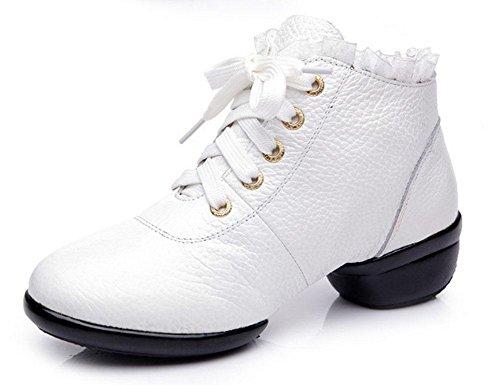 SHIXR Femmes Dancing Shoes Cuir respirant Femmes Dancing Shoes Dentelle Augmente Dancing Chaussures Soft Bottom Jazz Chaussures blanc