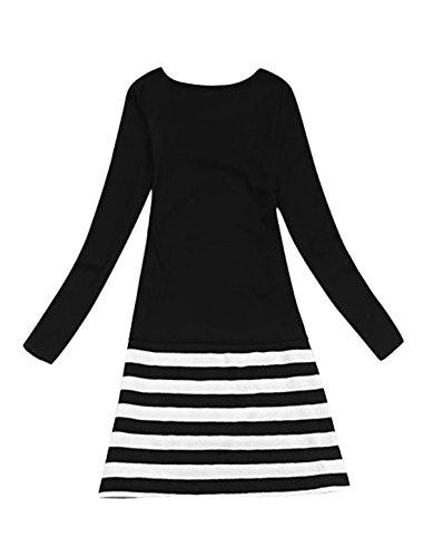 Femmes Decolleté Motif Rayure Coupe Droite Enveloppant Robe Noir S Noir - Noir