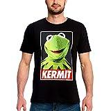Muppets Camiseta Disney para Hombre Póster Kermit Algodón Negro - M