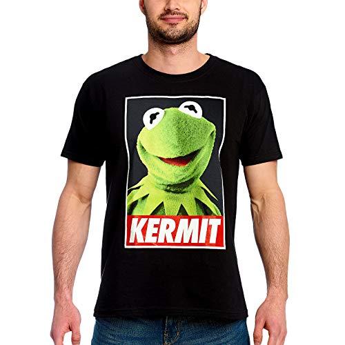 Muppets Disney Herren T-Shirt Kermit Poster Baumwolle schwarz - M -