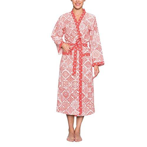 Hintergrund, Rote Umrandung (LA FIANCEE DU MEKONG Kimono, lang, klassisch, aus Baumwolle Gr. M, rot)