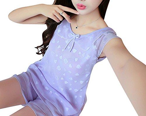 Donne camicie da notte pigiami estate di seta con notte a due pezzi Viola chiaro