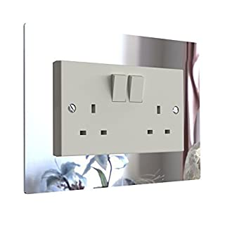 Displaypro Single, Double Light Switch Surround Acrylic Finger Plate Panel Plug Socket (Mirror - Double)