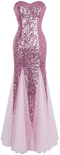 Angel-fashions Damen Ärmellos Blau Sequins Tüll Meerjungfrau Abendkleid (M, Rosa)