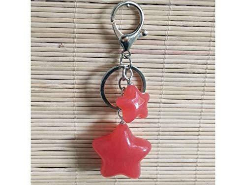 Schlüsselanhänger Candy-Farbigen fünfzackigen Stern Keychain für Frauen Geldbörse Charms für Handtaschen Anhänger mit Key Ring_Red Liebhaber Geschenk