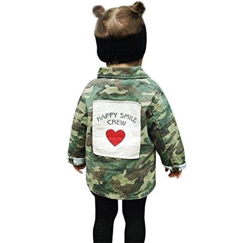 Babykleidung,Sannysis Baby Mädchen Junge Camouflage Letter Denim Mantel Umhangjacke Dicke Kleidung 2-6Jahre (110, Tarnung)