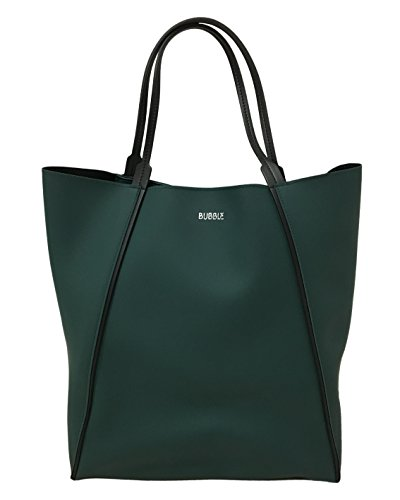 Borsa shopper Braintropy Bubble in tessuto gommato (Verde bosco)