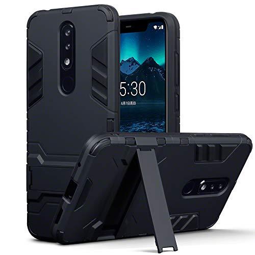 TERRAPIN, Kompatibel mit Nokia 5.1 Plus Hülle, Silikon + Polycarbonat Tasche mit Standfunktion - Schwarz