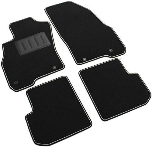 Il Tappeto Auto SPRINT00104 Tapis de voiture antidérapants en moquette noire, bord bicolore, talonnette renforcée en caoutchouc, pour modèles Punto Evo de 2009-2012, Punto de 2012-2015, Punto à partir de 2015, MiTo.