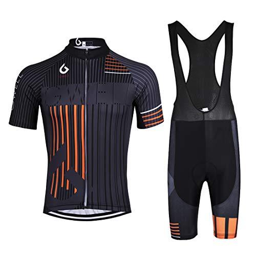 GWELL Herren Radtrikot Set Fahrrad Trikot Kurzarm + Radhose mit Sitzpolster Fahrradbekleidung MTB Sportanzug Orange (Set mit schwarzer Trägerhose) 5XL