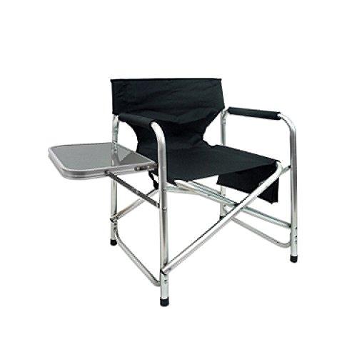 Silla de director plegable con mesa de playa o camping negra de aluminio Garden