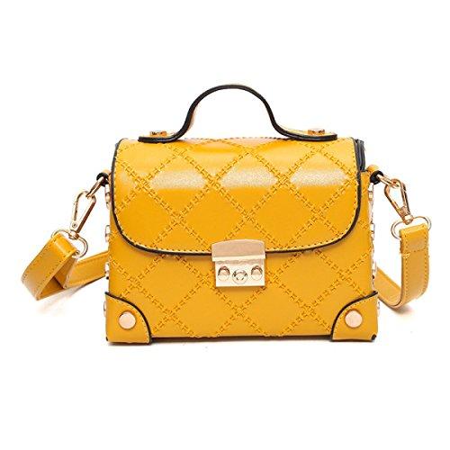 ZPFME Frauen Handtasche Mode Handtaschen Umhängetasche Party Retro Damen Mode Bankett Messenger Bag Yellow