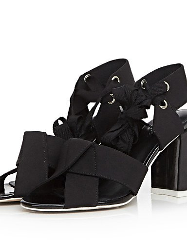 UWSZZ Die Sandalen elegante Comfort schuhe Donna-Sandali-formalen/Casual-Tacchi/Tick/mit Gürtel/Ankle Strap Quadrato-Di - Haut - Schwarz/Weiß Black